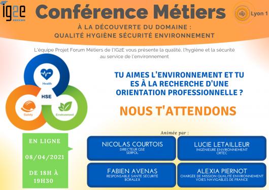 Conférence virtuelle métier environnement- Jeudi 8 avril 18h-19h30